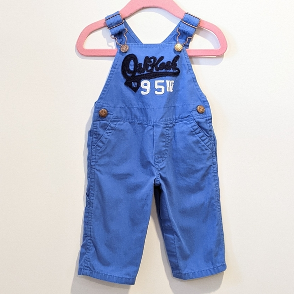 2/$20 Oshkosh boys blue cotton overalls 6 months